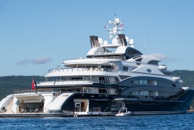 Sailing in Deep Blue Sea with Mega Yacht